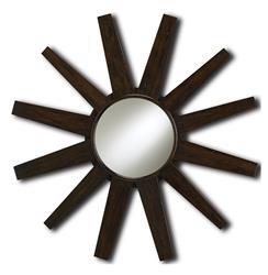 Modern Reclaimed Mahogany Starburst Mirror
