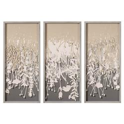 Coup & Co. Lisa Modern Classic Vines Grey Wood Frame Triptych Wall Art