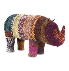 Malfi Colored Chindi Rope Wrapped Rhino Sculpture | CC-1018