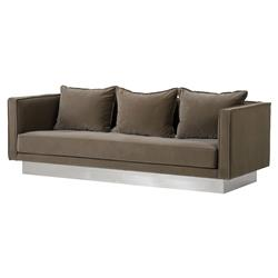Resource Decor Dylan Modern Classic Brown Upholstered Silver Metal Sofa