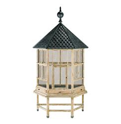Antique White Tin Roof Floor Standing Large Bird House Cage Aviary