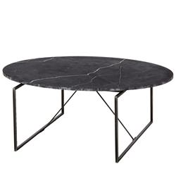 Thomas Bina Georgina Modern Classic Oval Black Marble Metal Coffee Table