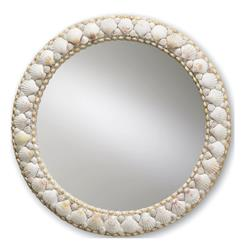 "Harbor Coastal Beach Elegant Scallop Shells Round Frame 21""D Mirror"