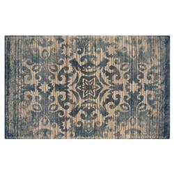 Resource Decor Kashan Global Bazaar Blue Beige Wool Patterned Rug - 5' x 8'