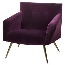 Resource Decor Kelly Modern Classic Purple Velvet Gold Metal Living Room Chair