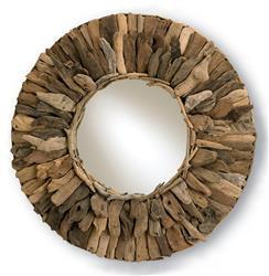 "Bonita Rustic Round Driftwood 33""D Mirror"