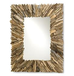 Bonita Coastal Beach Rectangular Rustic Driftwood Wall Mirror