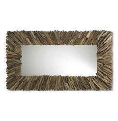Bonita Modern Rustic Driftwood Long Rectangle Mirror 42 x 72