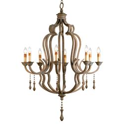 Normandy Large French Wood 8 Light Washed Grey Chandelier