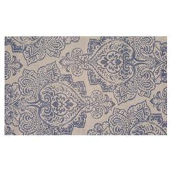 Resource Decor Meknes Global Bazaar Blue Beige Wool Patterned Rug - 5' x 8'