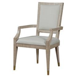 Maison 55 Raffles Modern Classic Ivory Wood Frame Dining Arm Chair