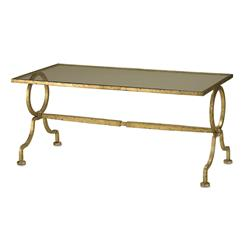 Gilbert French Deco Antique Gold Leaf Glass Cocktail Table | CC-4056