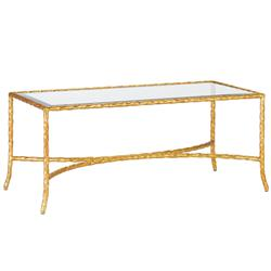 Gilt Twist French Deco Antique Gold Leaf Glass Coffee Table | CC-4057