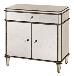 Hollywood Regency Antique Mirror Nightstand