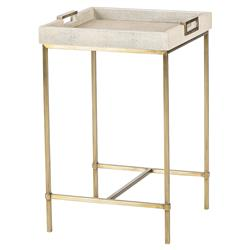 Maison 55 Lexi Modern Classic Square Shagreen Wood Metal Frame Side End Table