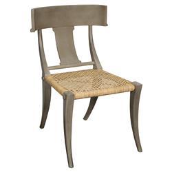 Noir Layton Klismos Coastal Beach Dusk Brown Mahogany Rattan Dining Chair