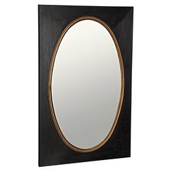 Caleb Hollywood Regency Rectangular Black Gold Sungkai Wood Wall Mirror