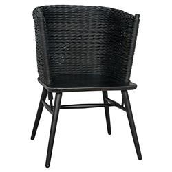 Noir Curba Modern Classic Black Rattan Sungkai Wood Dining Chair