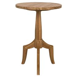 Charlie Modern Classic Round Brown Teak Side End Table