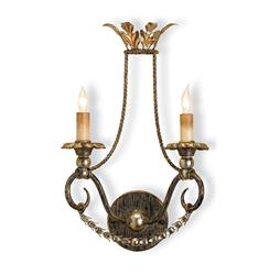 Spanish Revival Gold Silver Leaf 2 Light Wall Sconce