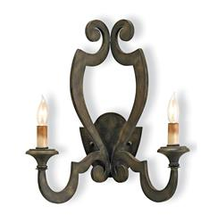 Renaud Rustic Wrought Iron Scroll 2 Light Wall Sconce