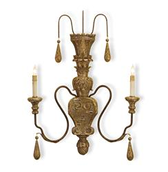 Manor French Country Aged Gold 2 Light Wall Sconce