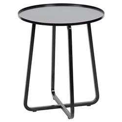 Roman Industrial Loft Round Black Metal Side Table