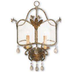 Spanish Revival Antique Gold Silver Decorative Wall Sconce | CC-5357