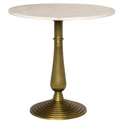 Tristan Hollywood Regency Round White Quartz Gold Cast Iron Side End Table