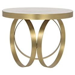Cole Hollywood Regency Round White Stone Gold Antique Brass Side End Table
