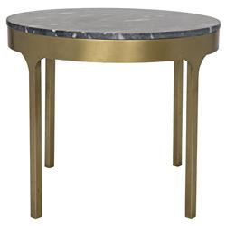 Xander Regency Round Black Stone Gold Antique Brass Metal Side End Table