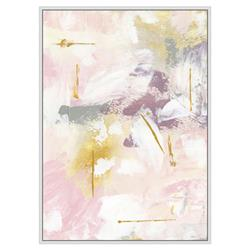 Quinn Modern Classic Pastel Pink Gold Grey Abstract Framed  Art