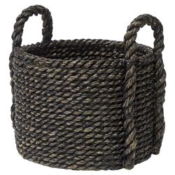 Palecek Coastal Beach Tatum Oversized Hand-woven Chunky Black Seagrass Basket