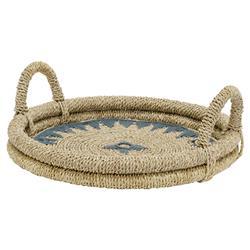 Palecek Modern Classic Mojave Hand-braided Natural Buri Round Tray
