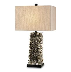 Santalucia Coastal Beach Oyster Shell Column Table Lamp