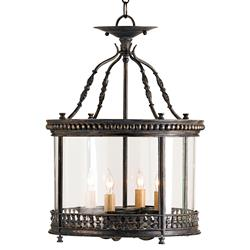 Gardner Wrought Iron French Country Ceiling Lantern Pendant Lamp | CC-9045