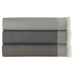 Peacock Alley Modern Fabio Wool Throw Blanket - Driftwood