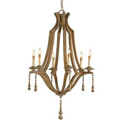 French Country Washed Bent Wood 6 Light Chandelier