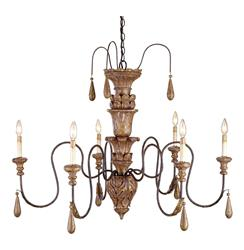 Manor French Country Aged Gold 6 Light 2 Tier Chandelier | CC-9334