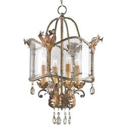 Spanish Revival Antique Gold Silver Lantern Pendant Lamp