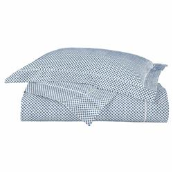 Peacock Alley Modern Emma Printed Sateen Duvet Cover - Blue Twin