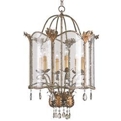 Spanish Revival Antique Gold Silver Lantern Pendant- Large