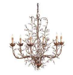 Enchanted Forest Crystal Bud 6 Light Chandelier