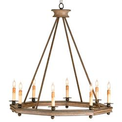 Bonfire Simple Open Octagonal Ring Rustic 8 Light Chandelier