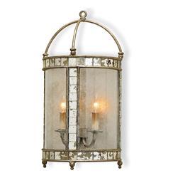 Sardinia Antique Silver Leaf Lantern Style Wall Sconce