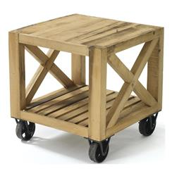 Chatham Solid Chunky Reclaimed Wood Cart End Table | GO-13181