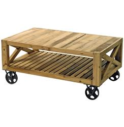 Chatham Solid Chunky Reclaimed Wood Cart Coffee Table | GO-13182