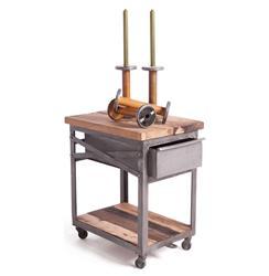 Reclaimed Wood Metal Industrial Loft Bedside Table Kathy