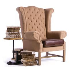 Buckingham Light Brown Man's Study Leather Wing Chair