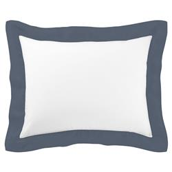 Peacock Alley Modern Mandalay Linen Cuff Percale Sham - Navy King